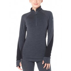 T-SHIRT LAINE MERINO FEMME 260 ZONE LONG SLEEVE 1/2 ZIP GRIS